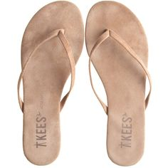 T KEES T Kees Flip Flops ($55) ❤ liked on Polyvore featuring shoes, sandals, flip flops, flats, sapatos, leather footwear, two tone shoes, flat shoes, leather sandals and leather flip flops