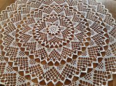 Sunrise Doily Tablecloth Crochet White Flower by Jenscraftsetc