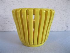 Vintage Yellow Planter / Ceramic Planter / Made in Spain / Modern Planter by fiordalis on Etsy