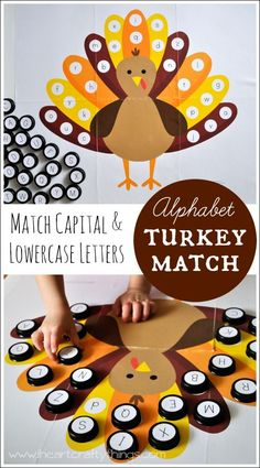 Alphabet Turkey Match Game for preschoolers. Match Capital and Lowercase letters. Fall Preschool, Preschool Activities, Thanksgiving Activities For Preschool, Turkey Kindergarten, November Preschool Themes, Turkey Crafts Preschool, Alphabet Activities, Learning Activities, Teaching Resources