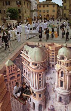 """L'artiste américain Kurt Wenner, ancien dessinateur pour la NASA, a réalisé de nombreuses peintures murales particulièrement réalistes, appelées aussi """"anamorphoses"""", de Londres à Rome en passant par Las Vegas. Voici quelques unes de ses oeuvres les plus impressionnantes qui ont attiré l'attention remarquée des médias..."""