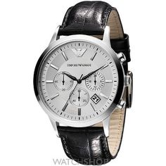 Emporio Armani Men's Chronograph Stainless Steel and Black Leather Watch Mens Designer Watches, Luxury Watches For Men, Gents Watches, Cool Watches, Women's Watches, Jewelry Watches, Seiko, Emporio Armani Mens Watches, Herren Chronograph