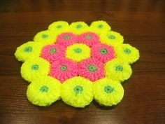 Коврик крючком из мотивов витыми столбиками (rug crochet)