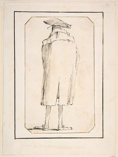 Caricature of a Man Seen from Behind  Giovanni Battista Tiepolo, 1760 (?) / Pen and ink with grey wash.