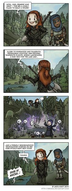 Skyrim: Neighbourhood Problems by Isriana on deviantART << this was me but with a sodding giant camp