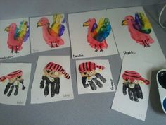 A True Pinterest Sensation!  Pirate handprints & Parrot footprints w/ handprint wings!!!!  <3 these-preschool Art!