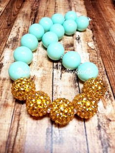 Shabby Chic| Mint Chunky Necklace |Mint Statement Necklace|Mint and gold| Mint| Bubblegum Necklace| Everyday Necklace| Birthday Outfit | One by BubblegumFunandMore on Etsy