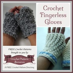 Crochet Fingerless Gloves ~ FREE Crochet Patterns: http://crochetpatternbonanza.com/category/fingerless-gloves/