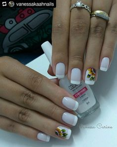 40 - Nail art designs in different colors for you - 1 If you want to make a difference, we offer you nail designs. These nail designs will show you di. Nail Art Designs, French Nail Designs, Cute Acrylic Nails, Cute Nails, Pretty Nails, Nail Art Inspiration, Nail Deco, Sunflower Nails, French Tip Nails