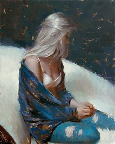 """""""Platinum Blond"""" - Suchitra Bhosle (b. oil on canvas {figurative """"Platinum Blond"""" - Suchitra Bhosle (b. oil on canvas {figurative art female seated woman profi Art Inspo, Painting Inspiration, Art Amour, L'art Du Portrait, Oil Painting Portraits, Impressionist Artists, Art Et Illustration, Ap Art, Figure Painting"""