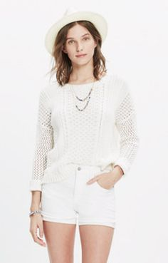 High-Rise Denim Shorts in Pure White
