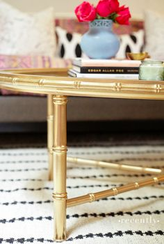 It took a little sanding, a coat of spray primer, and the Montana Gold spray paint I told you about last week. The color I used is called Goldchrome and it went on like a dream. I've got the bamboo table! Painted Bamboo, Faux Bamboo, Bamboo Furniture, Painted Furniture, Metallic Furniture, Upcycled Furniture, Diy Furniture, Bamboo Table, Bamboo Crafts