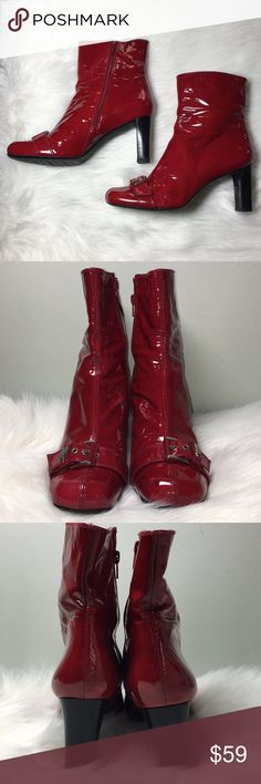"Stuart Weitzman Red Patent Leather Booties Red patent leather ankle booties with a 3"" heel. There are some scuffs on the toes as shown in picture as well as a pen mark on the upper inner side of right boot.  The heels and soles are in great condition. Stuart Weitzman Shoes Ankle Boots & Booties"