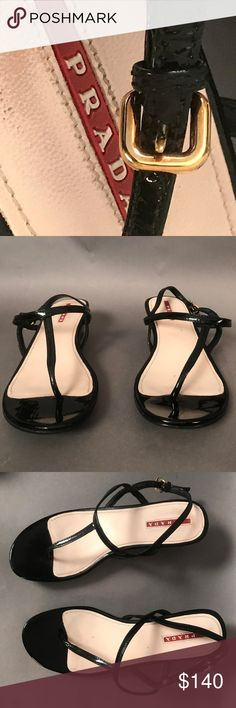 Spotted while shopping on Poshmark: PRADA Black Patent Leather Sandals EU 37 T Strap Sandals, Shoes Sandals, Shoe Show, Prada Shoes, Black Patent Leather, Fashion Tips, Fashion Design, Fashion Trends, Leather Sandals