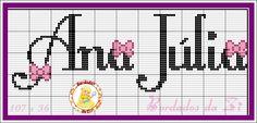 Ana Julia Cross Stitch Alphabet, Plastic Canvas, Cross Stitching, Diagram, Embroidery, Bullet Journal, Sewing, Julia, Gisele