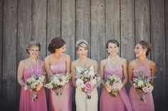 I love the idea of the same color, but different style bridesmaids dresses