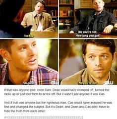 I'm so glad someone else noticed this. Cas has even told Dean about his suicidal thoughts, and that's fucking intimate ❤️
