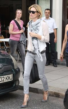 Kate Moss in grey denim and scarf