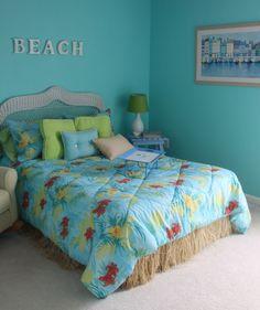 Beach Bedroom: Lovely Teenage Girl Beach Theme Bedroom Designs Ideas. Calm Luxurious Bedroom Opens To Pool.