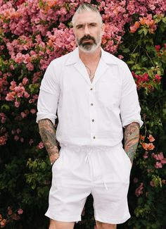 We choose not to call these men's rompers but rather the traditional name, men's jumpsuit. Breathable and so comfortable! You won't want to take it off on those sunny days. MADE IN USA *All sale items are final. No Returns/Exchanges. Big Men Fashion, Latest Mens Fashion, Men's Fashion, Fashion Editorials, Mens Linen Outfits, Romper Men, Black Skirt Outfits, Leather Suspenders, All White Outfit