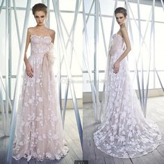 Wholesale Wedding Dresses - Buy New 2014 Beautiful Church Wedding Dresses A-Line Sweetheart Backless Lace Sweep Train Tulle Sheer Mira Zwillinger Bridal Gowns Custom Sexy, $133.83 | DHgate