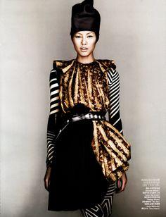 Magazine: Vogue China (June 2009) Editorial: Body Graphics Photographer: Josh Olins Model: Liu Wen