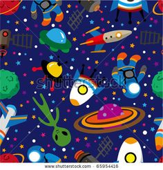 stock vector : seamless space pattern