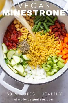 Brimming with garden veggies, beans and pasta, Vegan Minestrone Soup is healthy, comforting and so easy to make in one pot and ready in about 30 minutes! Vegan Recipes Easy, Veggie Recipes, Whole Food Recipes, Vegetarian Recipes, Vegan Soups, Recipes With Celery, Vegan Vegetable Soup, Vegetarian Dish, Dinner Recipes