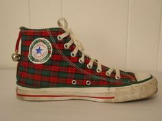 VINTAGE-1980S-CONVERSE-ALL-STAR-GYM-SHOES-W-BELLS-CHRISTMAS-EDITION-8 Converse Sneakers, Converse All Star, Converse Chuck Taylor High, Converse High, High Top Sneakers, Chuck Taylors High Top, 1980s, High Tops, Gym