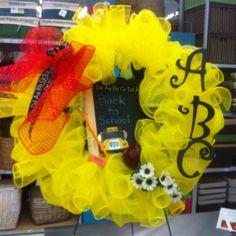 "Custom ""back to school"" mesh wreath by kristy@michaels 1091"