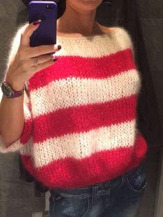 Silk mohair strips sweater