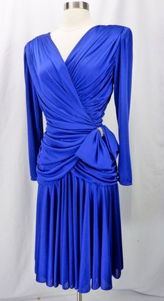 Vtg 80s Royal Blue Slinky Draped & Ruched Bow Waist Rhinestone Cocktail Dress M #AbbyKent #Sheath