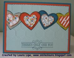 Laura uses Vintage Verses (SAB) with Sycamore Street dsp (SAB), Honeycomb embossing folder, and Hearts & Hearts a Flutter framelits sets. Very nice layout!