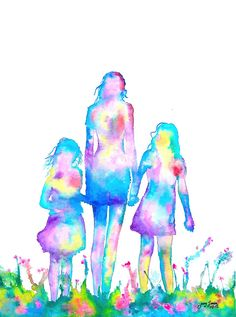 Presentation Paper Matte print reproduction of my original watercolor painting. Mother Daughter Art, Mother Art, Disney Drawings, Art Drawings, Tatoo Manga, Sisters Art, Family Painting, Watercolor Paintings, Illustration Art