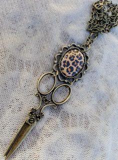 Leopard Print Hair Stylist Scissor Charm by ShearStyleJewelry, $18.00