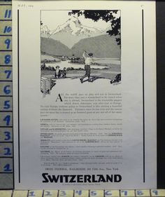 1924 SWITZERLAND GOLF SPORT COURSE GAME GREEN TOURIST TRAVEL AD S11 -> Für Golf SALE und Golf Bestseller klicken!