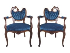True Blue Velvet Vintage Chairs with half moon back, stunning vintage piece upgraded just in time for 2020 Pantone Color of the year True Blue Table Height, Vintage Chairs, Vintage Velvet, Color Of The Year, Pantone Color, Blue Velvet, Dark Navy, Emerson Park, Dining Chairs