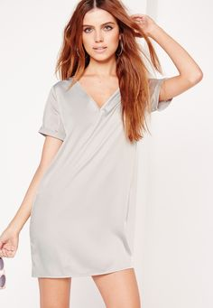 Missguided - Contrast Silky Oversized T-Shirt Dress Grey