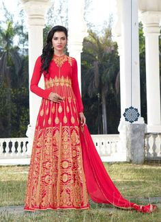 Heavy Embroidered Red Colored Anarkali Suits