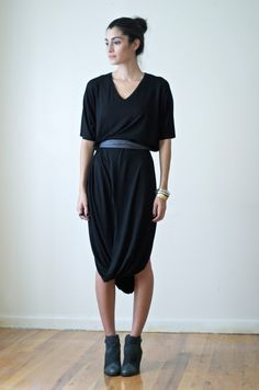 Oversized Black Midi Dress Tunic / Maternity Dress by marcellamoda, $78.00