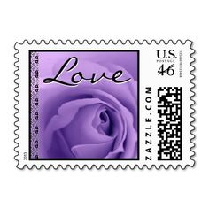 #Wedding #LOVE #Stamp #PURPLE #Rose #Lace