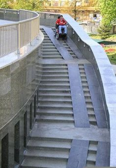 Way too steep and not everyone has a wheelchair with wheels that fit on those tracks. What about people that have trouble with stairs and use a walker. This wouldn& work at all for them. Landscape Architecture, Architecture Design, Architecture Diagrams, Architecture Portfolio, Classical Architecture, Ancient Architecture, Sustainable Architecture, Ramp Stairs, Handicap Ramps