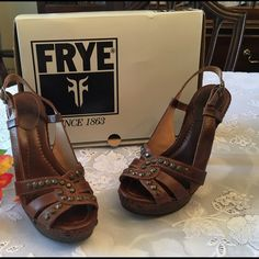 FRYE BROWN HEELS.  New. MAKE OFFER Dara Honeycomb sling light brown   #73681. Woman size 8 1/2 m. These are the sharpest looking shoes with a 5 inch heel and bronze colored tacks. Frye Shoes Heels