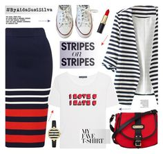 """My favorite t-shirt on stripes."" by aidasusisilva ❤ liked on Polyvore featuring WithChic, AlexaChung, Converse, Kate Spade, Davey's, stripesonstripes, PatternChallenge and MyFaveTshirt"