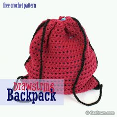 Beach bags for the boys Free Crochet Pattern - Drawstring Bag Crochet Drawstring Bag, Free Crochet Bag, Crochet Backpack, Crochet Shell Stitch, Crochet For Kids, Easy Crochet, Crochet Bags, Drawstring Backpack, Crochet Handbags