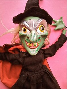 Vintage Halloween Toy ~ Old Hag Witch Puppet