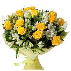 Артикул: 035-68 Состав букета: 15 роз желтого цвета, 16 веток альстромерий, оформление Размер: Высота букета 60 см Роза: Выращенная в Украине http://rose.org.ua/bukety-iz-roz/778--prikosnovenie-nezhnosti-byket-roz.html #букеты #букетроз #доставкацветов #RoseLife #flowers #SendFlowers #купитьрозы #заказатьрозы   #розыпоштучно #доставкацветовкиев #доставкацветовукраина #срочнаядоставка #заказатьрозыкиев