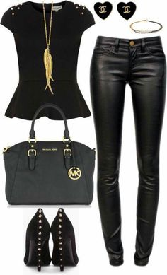 21 sexy leather looks (for winter) black and gold outfit, black gold, Mode Outfits, Winter Outfits, Fashion Outfits, Womens Fashion, Vegas Outfits, Woman Outfits, Party Outfits, Club Outfits, Winter Clothes