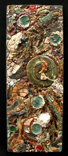 "Pottery, Pearls, Glass Glass tiles, Shells, Citrine, Oyster shells, Turquoise, Coral, Rocks, Verdigris penny's, Paua shells, Goldstone   (Available)  More  work on ""life""."