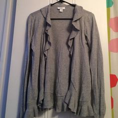 Gray LOFT cardigan Gray LOFT cardigan in women's L. Ruffles on edges. Contact seller for more information - no trades. LOFT Sweaters Cardigans